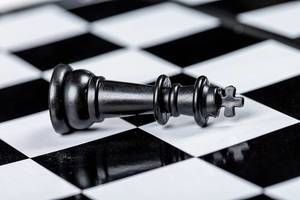 Black king chess piece lies on a chessboard. The concept of losing, losing and failing (Flip 2019)