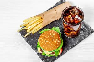 Black stone tray with fast food (Flip 2019)