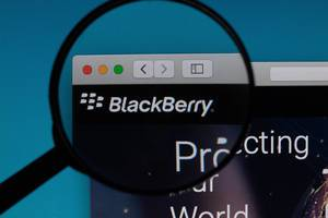 BlackBerry logo under magnifying glass