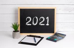 Blackboard with 2021 text