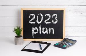 Blackboard with 2023 plan text