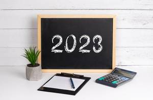 Blackboard with 2023 text