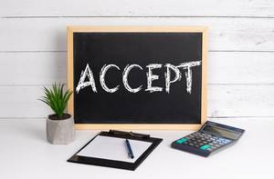 Blackboard with Accept text