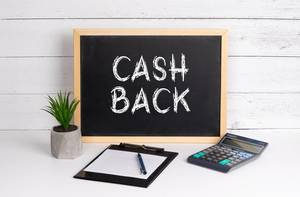 Blackboard with Cash Back text