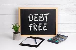 Blackboard with Debt Free text