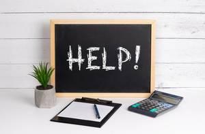 Blackboard with Help! text