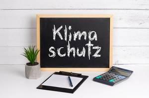 Blackboard with Klimaschutz text