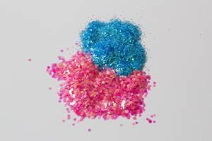 Blaues und rosafarbenes Konfetti