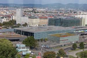 Blick auf die Station Praterstern aus dem Wiener Riesenrad