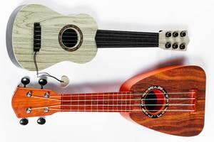Blick von oben auf Gitarre und Ukulele vor weißem Hintergrund