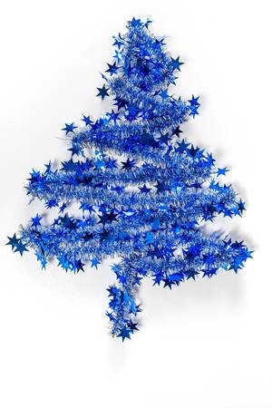 Blue christmas tree on white background (Flip 2019)