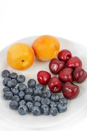 Blueberries Apricots and Cherries on the plate (Flip 2019)