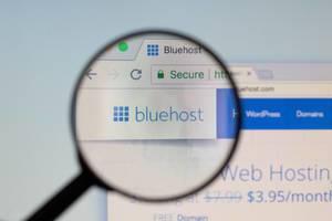 Bluehost-Logo am PC-Monitor, durch eine Lupe fotografiert