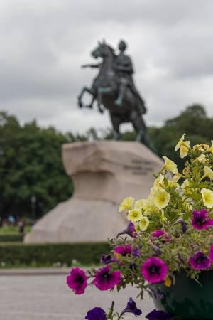 Blumen auf dem Senatsplatz mit der Reiterstatue Der eherne Reiter im Hintergrund
