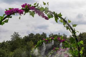 Blumentoren mit spritzendem Wasser auf dem Tomorrowland Festival