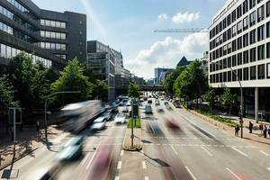 Blurry Cars on the road in Hamburg city, Germany