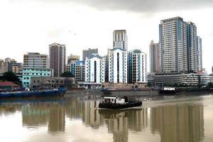 Boats and Barge afloat the Pasig river in Manila District