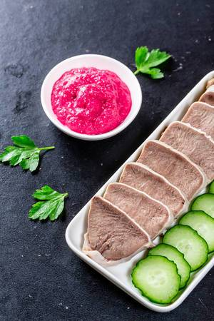 Boiled pork tongue with horseradish sauce