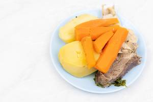 Boiled Veal with boiled Potatoe and Carrot