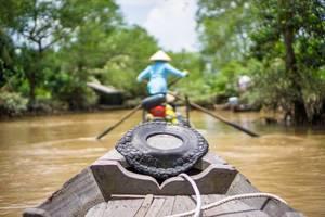 Bootsfahrt auf dem Mekongdelta Fluss in Vietnam