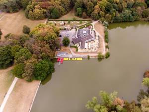 Bootverleih, Restaurant Haus am See und Minigolf in Lindenthal. Luftbild