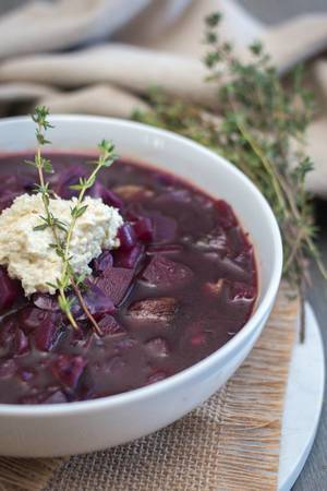 Borscht Soup In a White Bowl Close-up   Flip 2019