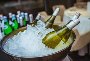Bottles Of Wine In The Ice At The Tasting. Background, Celebration  (Flip 2019)