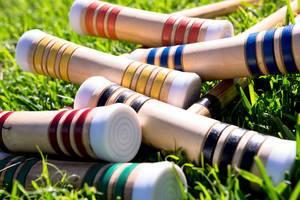 Bottoms of croquet sticks