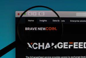Brave new coin logo under magnifying glass