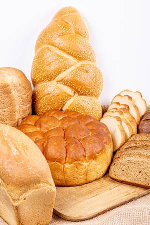 Bread and pieces of bread of different types