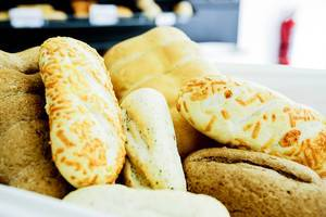 Bread basket with a variety of breads