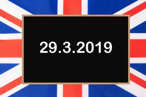 Brexit 2019 date with British flag