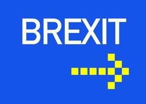 Brexit Text mit Pfeil auf blauem Hintergrund