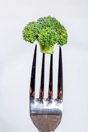 Brokkoli auf einer Gabel vor hellem Hintergrund
