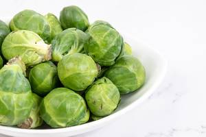 Brussel Sprouts in the white bowl