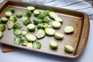 Brussel Sprouts on a Baking Sheet