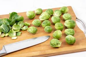 Brussel Sprouts on the wooden board (Flip 2019)