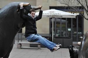 Buchstäblich den Stier bei den Hörnern packen - Stier / Bulle an der Frankfurter Börse