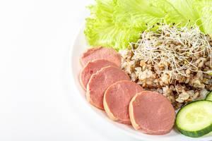 Buckwheat porridge with sausage, lettuce leaves, cucumber and alfalfa micro greenery (Flip 2019)