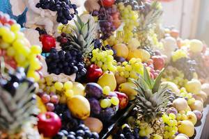 Bunch of fruits, grapes, pears, pineapples, apples, plums, oranges (Flip 2019)