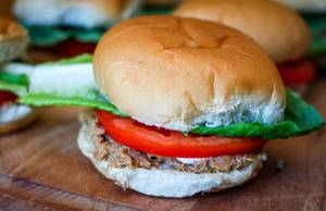 Burger with Tomato and lettuce Close-up