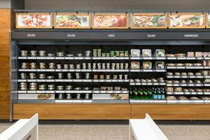 Buying salads, sides and sandwiches with your smartphone at the Amazon Go store in Chicago