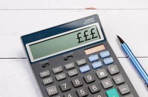 Calculator showing three Pounds symbols
