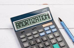 Calculator with the word Amortization on the display