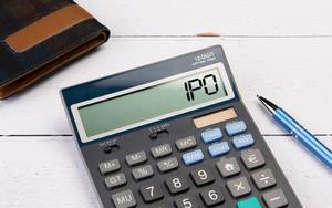 Calculator with the word IPO on the display