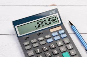 Calculator with the word Januar on the display