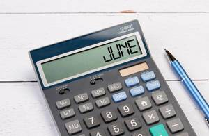 Calculator with the word June on the display