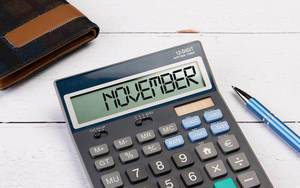 Calculator with the word November on the display