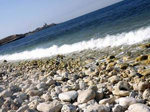 Calm, rhythmic vawes at the shore of Black Sea, Crimea