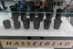 Camera objectives of Hasselblad at the Photokina in Collogne